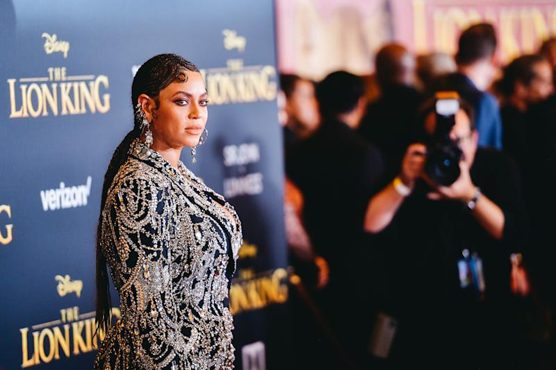 Beyoncé on the red carpet for The Lion King