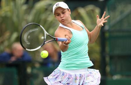 Tennis - WTA International - Nature Valley Open - Nottingham Tennis Centre, Nottingham, Britain - June 12, 2018 Australia's Ashleigh Barty in action during her first round match against Stefanie Voegele of Switzerland Action Images via Reuters/Peter Cziborra