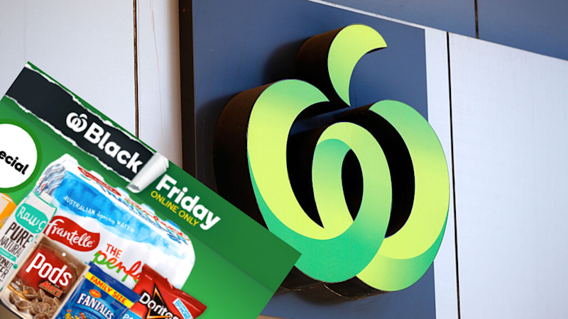 Pictured: Woolworths logo, Black Friday banner. Images: Getty, Woolworths