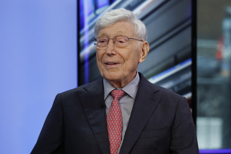 "Home Depot co-founder Bernie Marcus appears on ""Cavuto: Coast to Coast,"" with anchor Neil Cavuto, on the Fox Business Network, in New York, Monday, June 24, 2019. (AP Photo/Richard Drew)"