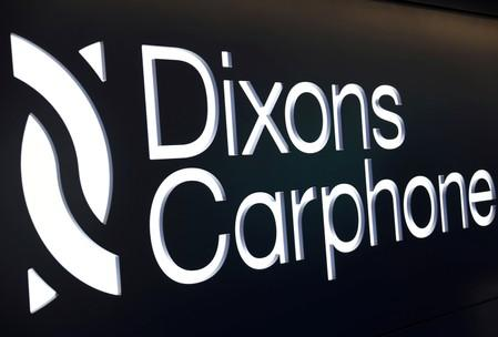 FILE PHOTO: A sign displays the logo of Dixons Carphone at the company headquarters in London