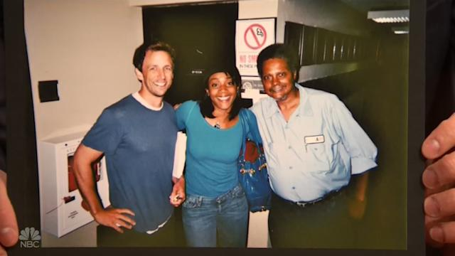 Seth Meyers and Tiffany Haddish, with an unidentified NBC worker, in 2009. (Photo: NBC)