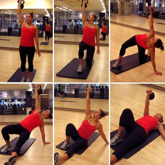 """<p>Zhang called the Turkish get-up her favorite exercise. """"It's so technical and works your entire body."""" It looks complicated at first, but gets easier once you do it a few times, she added. You can also start with a <a href=""""https://www.popsugar.com/fitness/photo-gallery/45762934/image/45763043/Half-Turkish-Get-Up"""" class=""""link rapid-noclick-resp"""" rel=""""nofollow noopener"""" target=""""_blank"""" data-ylk=""""slk:Half-Turkish get-up"""">Half-Turkish get-up</a> and work your way to the full.</p> <ul> <li>Begin lying on your back. Hold a weight (a dumbbell or kettlebell) in your right hand and point your right toward the ceiling. Bend your right knee. Your left arm should be out to the side and a little lower than your shoulder.</li> <li>Push from your left hand to come to sitting. Keep your eyes on your right hand and your right arm in the air. Lean onto your left hand to prepare you for your next move.</li> <li>Press down into your left hand to lift your pelvis off the ground. Keep your eyes trained on your right hand.</li> <li>Shoot your left leg backward, putting weight on your left knee, which you should place directly under your left hip. Your arms should be in a straight line with left hand on the floor and right hand toward the ceiling. You are bent to the left, but your eyes will still be focusing on the right hand.</li> <li>Push off the floor with your left hand, so you're in a lunge position with your torso upright. Keep looking up at your right hand.</li> <li>Push off your left foot to come to standing. Bring left leg forward to meet the right.</li> <li>Reverse the sequence to return to starting position on floor.</li> <li>This counts as one rep.</li> </ul> <p><a href=""""https://www.youtube.com/watch?v=saYKvqSscuY"""" class=""""link rapid-noclick-resp"""" rel=""""nofollow noopener"""" target=""""_blank"""" data-ylk=""""slk:Check out this video"""">Check out this video</a> to see the move in full.</p>"""