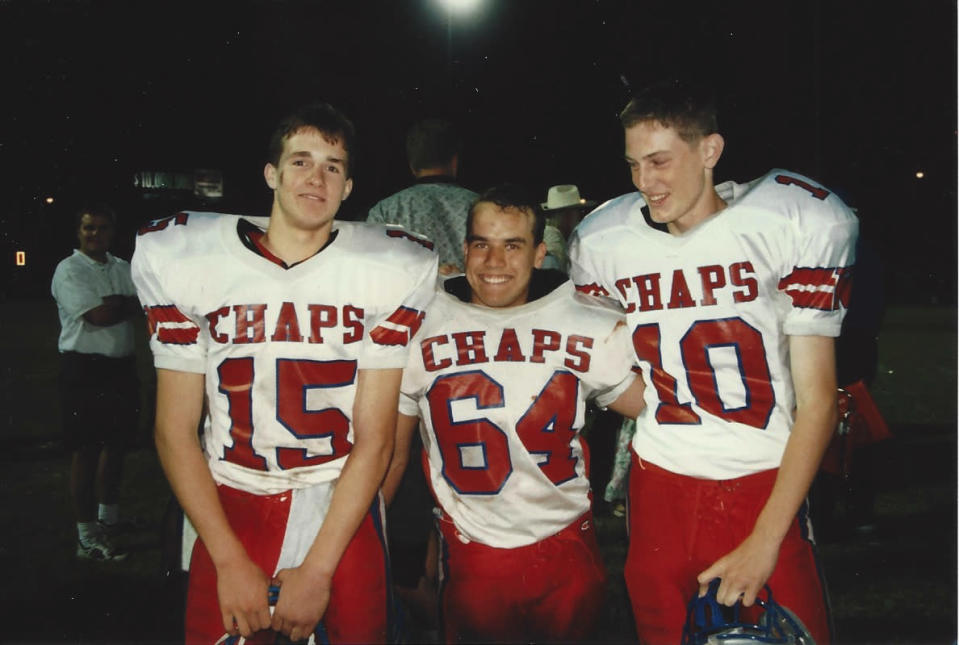 Drew Brees (No. 15) threw for more than 5,000 yards and led Westlake to a 28-0-1 record in two seasons as the varsity starting quarterback. (photo via Chip and Amy Brees)