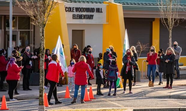 'Not in a single classroom is any child required to wear a mask,' said Surrey Teachers Association president Matt Westphal about Ecole Woodward Hill Elementary School, where teachers called for more COVID-19 safety measures on Tuesday.