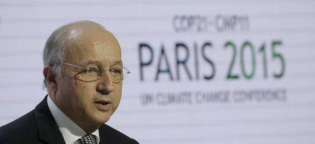French Foreign Affairs Minister Laurent Fabius, President-designate of COP21, attends a news conference during the World Climate Change Conference 2015 (COP21) at Le Bourget