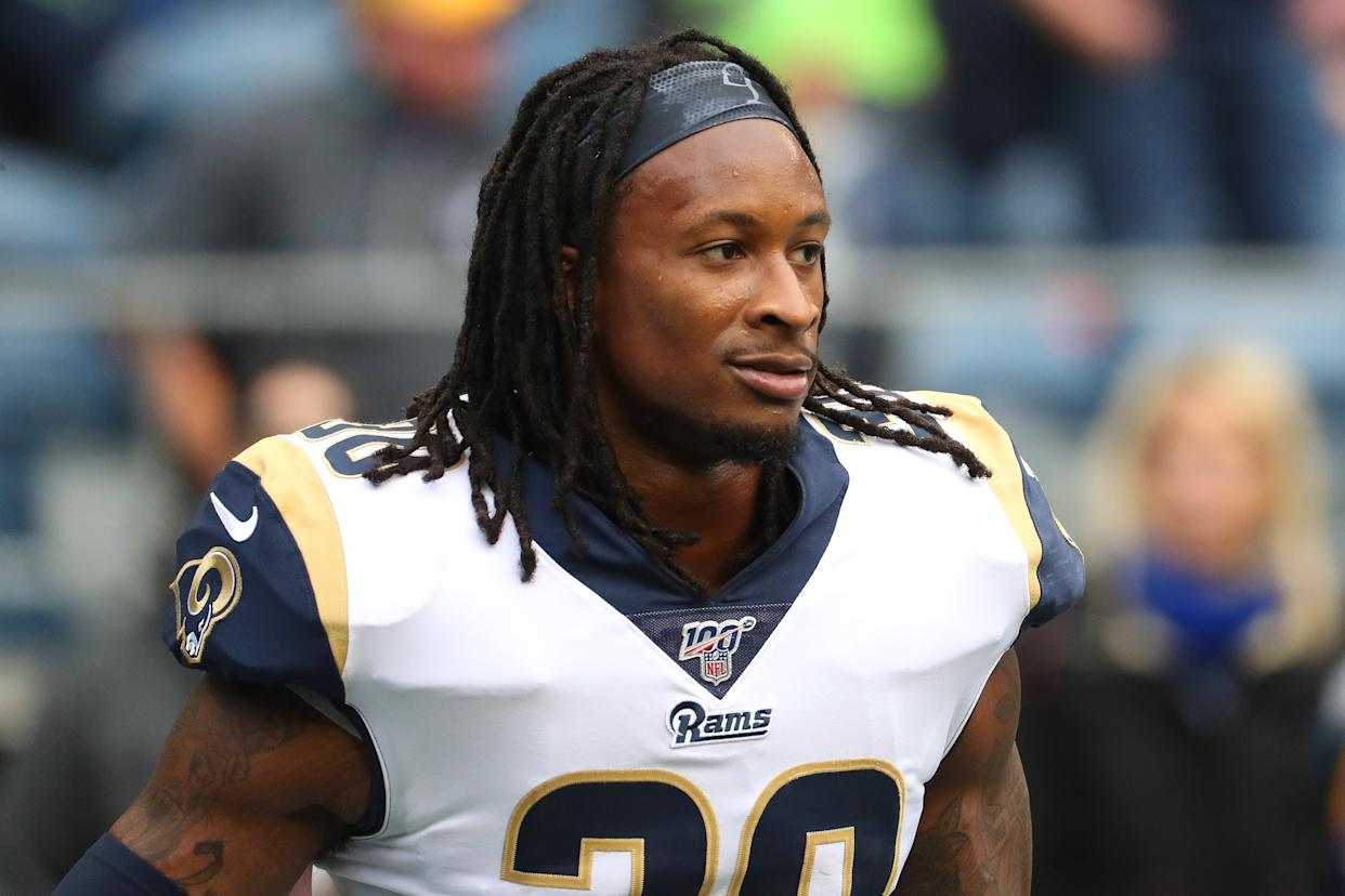 Todd Gurley railed against the NCAA and delivered an ode to Brian Bosworth with a scathing T-shirt. (Getty)