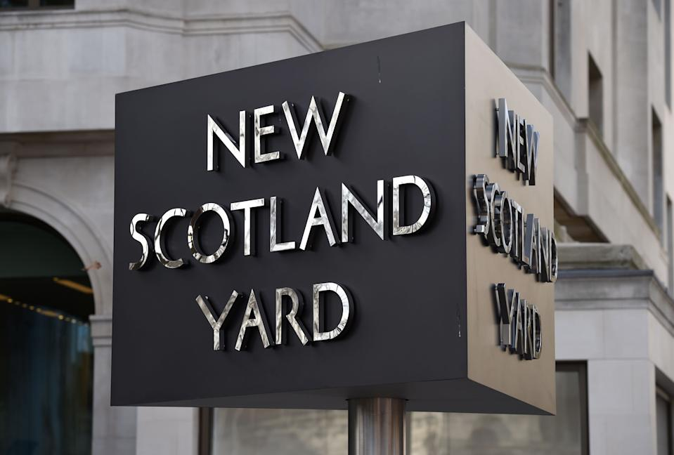 File photo dated 03/02/17 of the New Scotland Yard sign. Britain's biggest police force has seen assaults on officers rise by 37% in the past three months, figures show. The Metropolitan Police said 2,027 assaults were recorded between May and July, compared with 1,475 in the same months in 2019.