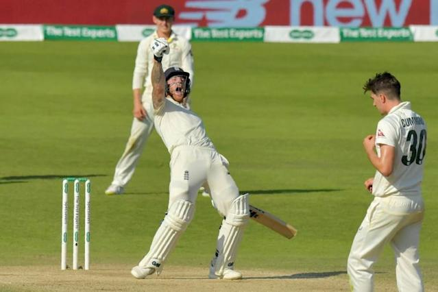 England's Ben Stokes celebrates hitting the winning runs on the fourth day of the third Ashes cricket Test match between England and Australia at Headingley (AFP Photo/Anthony Devlin)