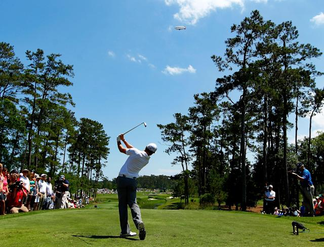 PONTE VEDRA BEACH, FL - MAY 10: Rory McIlroy of Northern Ireland hits his tee shot on the fifth hole during the first round of THE PLAYERS Championship held at THE PLAYERS Stadium course at TPC Sawgrass on May 10, 2012 in Ponte Vedra Beach, Florida. (Photo by Mike Ehrmann/Getty Images)