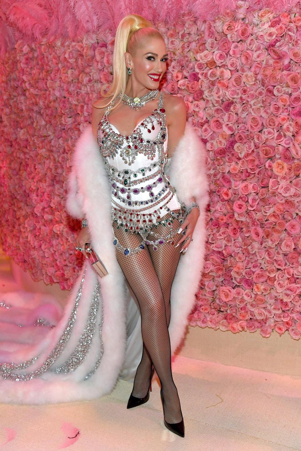 """<p>Wearing <a href=""""https://www.popsugar.com/fashion/photo-gallery/46110280/image/46118930/Gwen-Stefani-2019-Met-Gala"""" class=""""link rapid-noclick-resp"""" rel=""""nofollow noopener"""" target=""""_blank"""" data-ylk=""""slk:a Moschino by Jeremy Scott"""">a Moschino by Jeremy Scott</a> look with Christian Louboutin shoes and EFFY Jewelry at the 2019 Met Gala.</p>"""