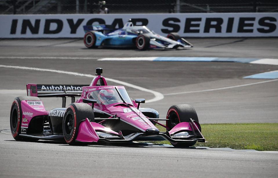 Jack Harvey drives the road course at Indianapolis Motor Speedway on July 3, 2020, during qualifications for the IndyCar Grand Prix.
