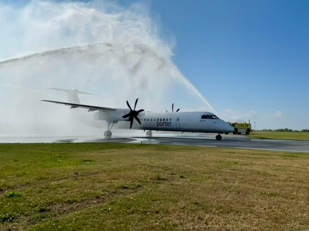The first flights in 18 months took off Wednesday from Billy Bishop airport.  (Oliver Walters/CBC - image credit)