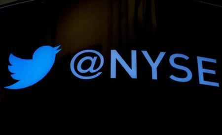 The Twitter logo is displayed ahead of the company's IPO on the floor of the New York Stock Exchange