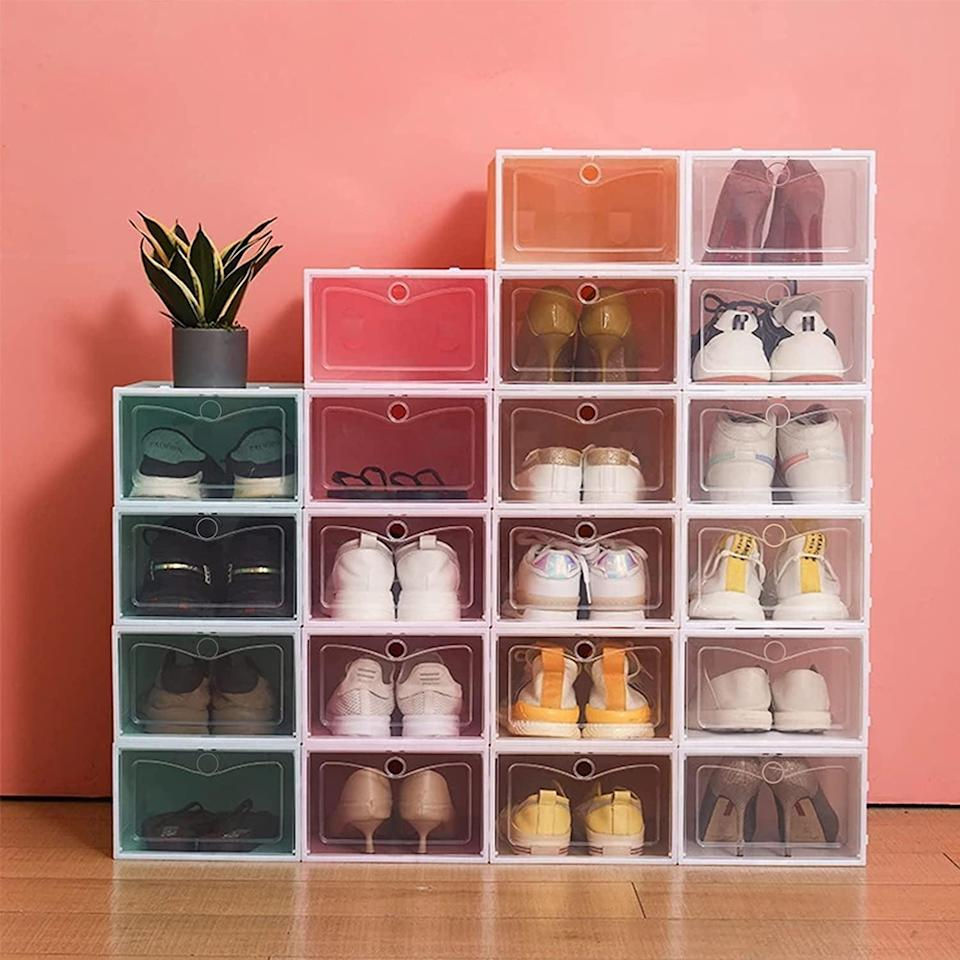 <p>Keep your shoes in good condition when you're not wearing them with these <span>Twsoul Stackable Clear Plastic Shoes Organizers</span> ($40 for 12). You'll be able to stack them and make use of your vertical space. Since they are clear, you can see every shoe you have - planning outfits has never been easier. </p>