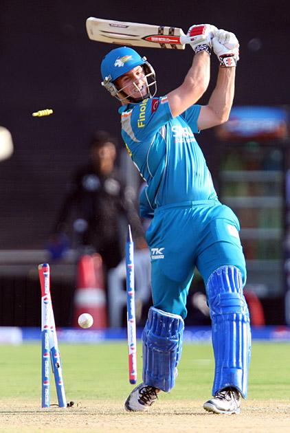 Pune Warriors batsman Mitchell Marsh bowled out during the match between Pune Warriors and Kings XI Punjab in Pune on April 7, 2013. (Photo: IANS)