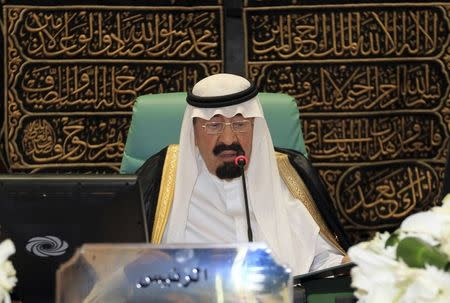 File photo of Saudi Arabia's King Abdullah bin Abdulaziz speaking at the opening ceremony of the OIC summit in Mecca