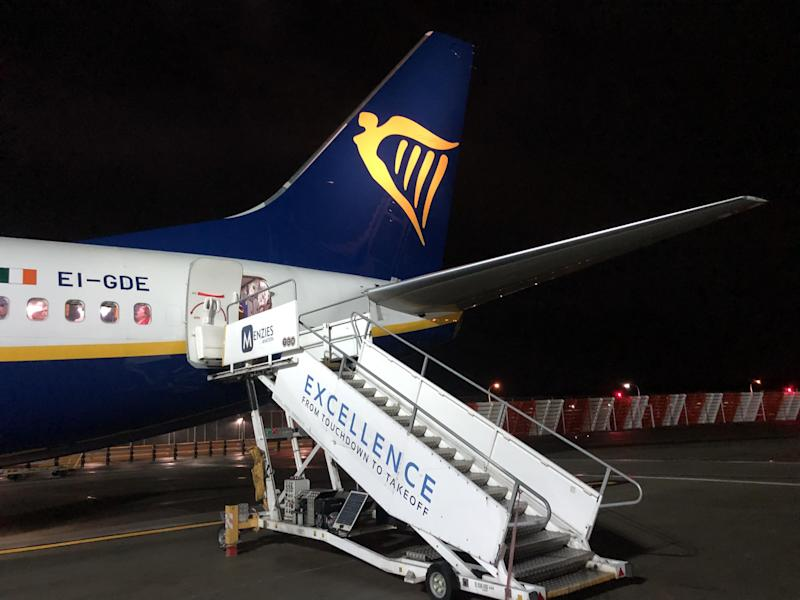 Direction of travel: a Ryanair Boeing 737 boarding at Gatwick airport: Simon Calder