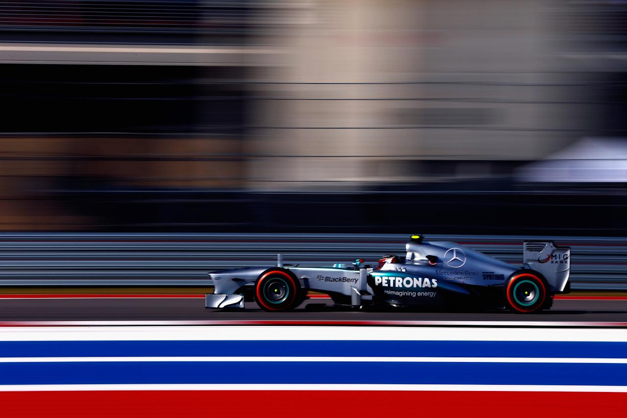 AUSTIN, TX - NOVEMBER 17: Lewis Hamilton of Great Britain and Mercedes GP drives during the United States Formula One Grand Prix at Circuit of The Americas on November 17, 2013 in Austin, United States. (Photo by Tom Pennington/Getty Images)