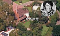 """<p>Feel free to catalog this one as an urban legend, but as the story goes, Elvis Presley once bedded eight to as many as eighty women in one of the Mansion's plethora of bedrooms in a single night. To <a href=""""https://www.thrillist.com/home/things-you-didn-t-know-about-the-playboy-mansion-legendary-party-pad-stories"""" rel=""""nofollow noopener"""" target=""""_blank"""" data-ylk=""""slk:pay homage"""" class=""""link rapid-noclick-resp"""">pay homage</a> to the King, Hef has since dedicated that room to Presley and forbidden it from being photographed for public consumption. <i>Photo: Hilton & Hyland</i></p>"""