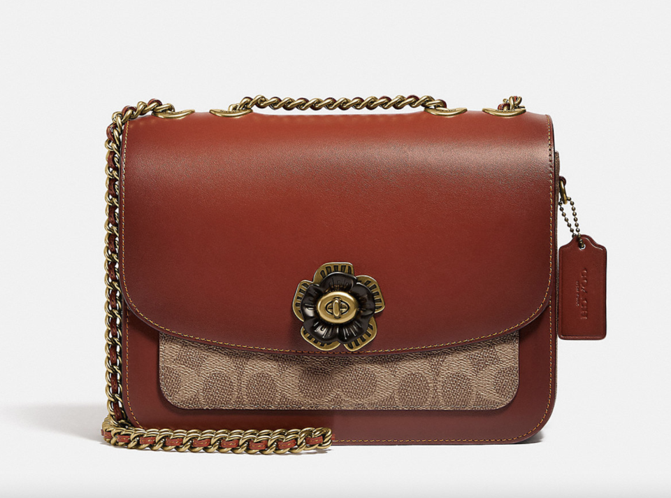 brown leather coach bag with flower detail Madison Shoulder Bag in Signature Canvas