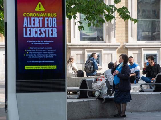 An NHS public safety message in Leicester after the health cecretary Matt Hancock imposed a local lockdown following a spike in coronavirus cases in the city (PA)