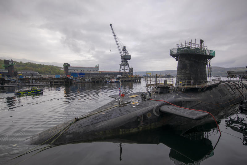 FASLANE, SCOTLAND - APRIL 29: General view of HMS Vigilant, which carries the UK's Trident nuclear deterrent on April 29, 2019 in Faslane, Scotland. A media tour of the submarine was arranged to mark 50 years of the continuous at sea nuclear deterrent (CASD). (Photo by James Glossop - WPA Pool/Getty Images)