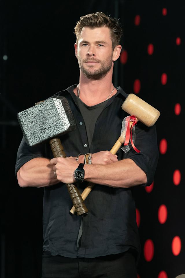 On Friday, Chris Hemsworth makes an appearance at Tokyo Comic-Con with his character's signature hammer.