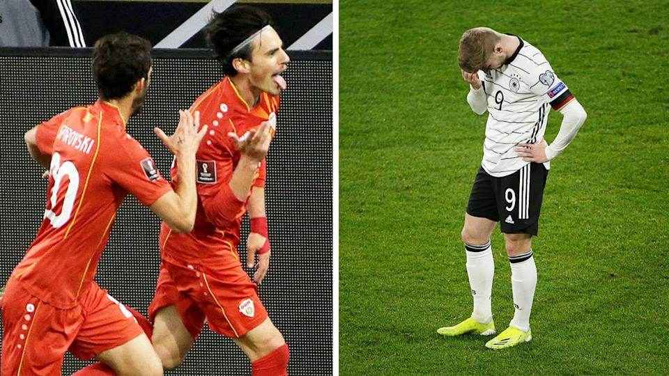 North Macedonia's Elfig Elmas (pictured left) celebrates a goal and (pictured right) Timo Werner looking upset.