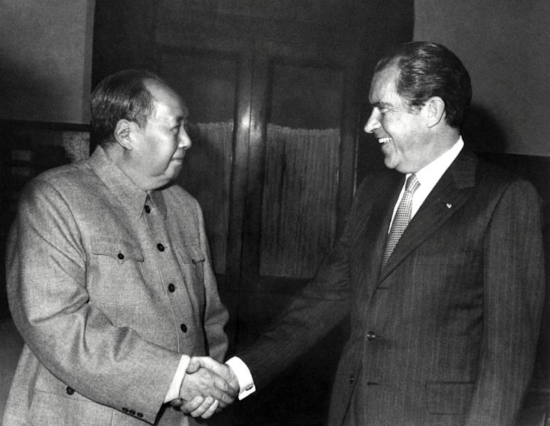 Chinese state media hailed the landmark talks with Taiwan as the most important event since 1972, when Mao Zedong met Richard Nixon in Beijing (AFP Photo/)