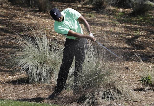 Ttiger Woods hits out from the rough off the fourth fairway during the second round of the Honda Classic golf tournament, Friday, Feb. 28, 2014, in Palm Beach Gardens, Fla. (AP Photo/Lynne Sladky)