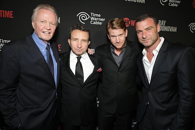 Jon Voight, Eddie Marsan, Dash Mihok, and Liev Schreiber at the Showtime premiere of the new drama series Ray Donovan presented by Time Warner Cable, on Tuesday, June, 25, 2013 in Los Angeles. (Photo by Eric Charbonneau/Invision for Showtime/AP Images)
