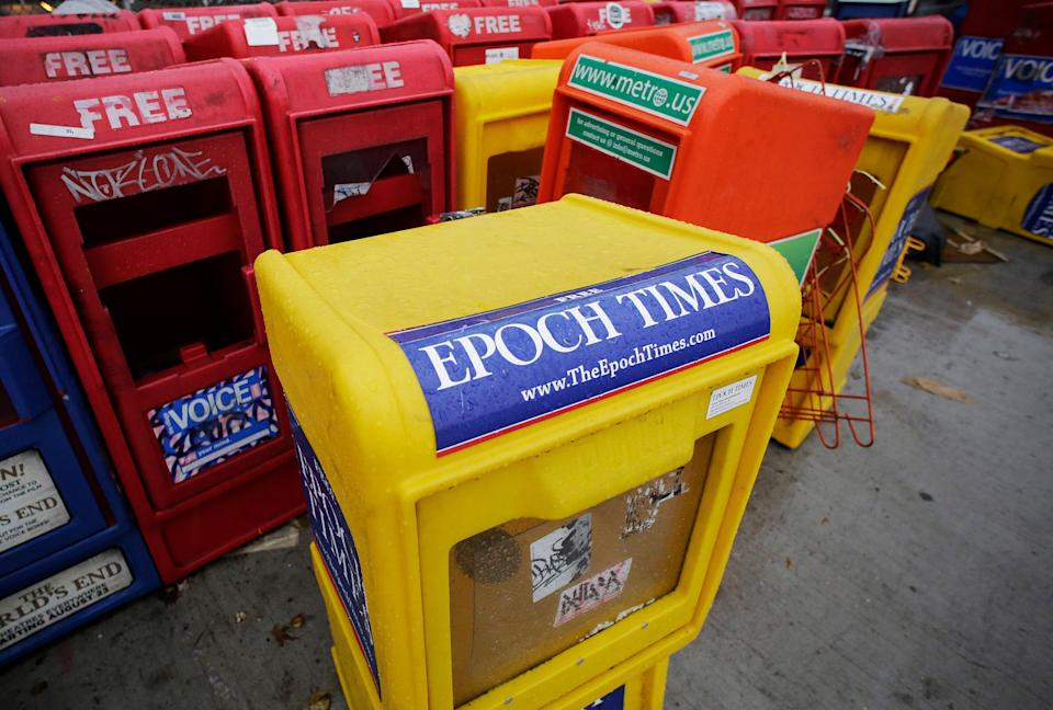 A newspaper box for the Epoch Times in New York City on Nov. 27, 2013. (Photo: ASSOCIATED PRESS)