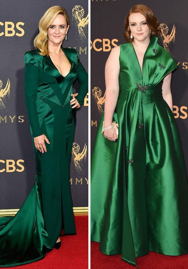 Talk show host Samantha Bee and Stranger Things star Shannon Purser looked gorgeous in emerald. Photo: Getty