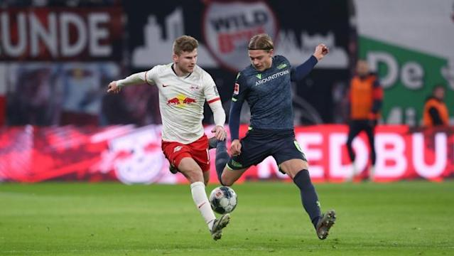 Leipzig striker Timo Werner (L) has 20 goals in 18 league games this term (AFP Photo/Ronny Hartmann)