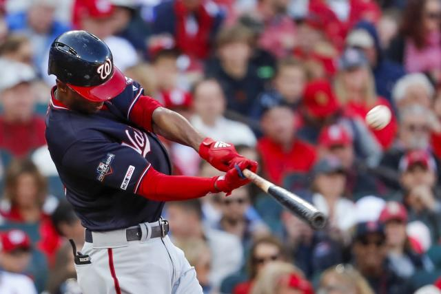 Washington Nationals' Michael A. Taylor hits a home run during the third inning of Game 2 of the baseball National League Championship Series against the St. Louis Cardinals Saturday, Oct. 12, 2019, in St. Louis. (AP Photo/Jeff Roberson)
