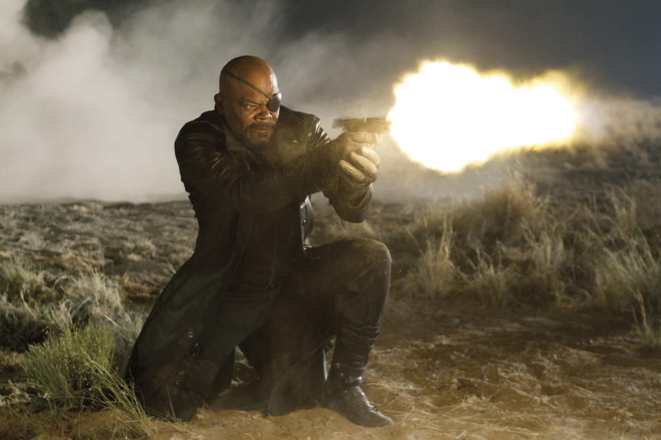 """In this film image released by Disney, Samuel L. Jackson portrays Nick Fury in a scene from Marvel's """"The Avengers."""" (AP Photo/Disney, Zade Rosenthal)"""