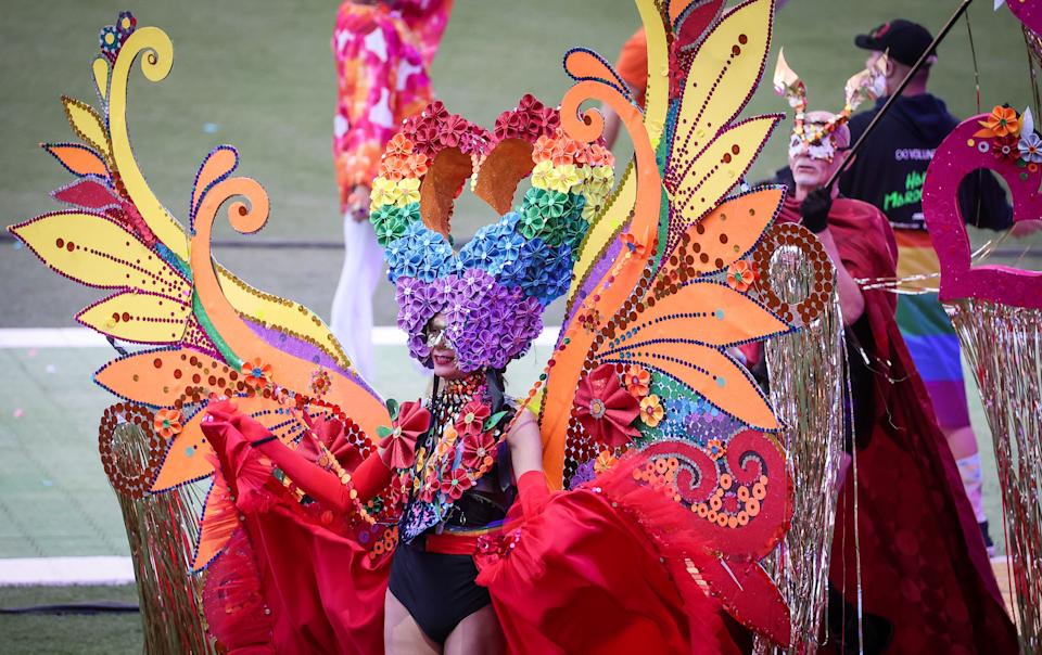 The 43rd Sydney Gay and Lesbian Mardi Gras at the Sydney Cricket Ground (SCG) in Sydney on March 6, 2021. (Photo: DAVID GRAY/AFP via Getty Images)