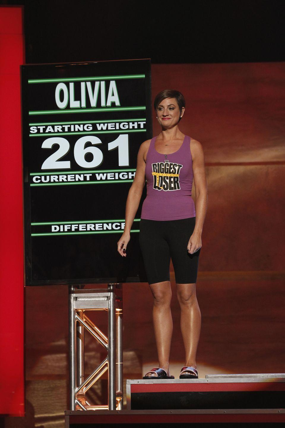<p>Olivia had a super dramatic transformation on the show's season 11. She went from 261 pounds to 129 and won the title. </p>