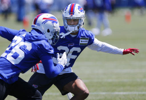 Buffalo Bills cornerback Kevin Johnson (36) runs drills during an NFL football team practice Tuesday, June 11, 2019, in Orchard Park N.Y. (AP Photo/Jeffrey T. Barnes)