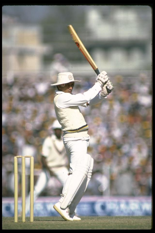 Nov 1983:  Sunil Gavaskar of India during his record breaking innings of 100 during the second test against England in Delhi, India. Mandatory Credit: Adrian Murrell/Allsport