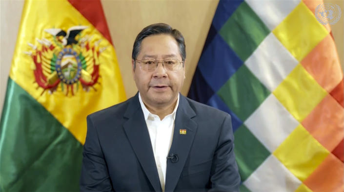 In this image made from UNTV video, Luis Arce, President of Bolivia, speaks in a pre-recorded message which was played during the U.N. General Assembly's special session to discuss the response to COVID-19 and the best path to recovery from the pandemic, Thursday, Dec. 3,2020, at UN headquarters, in New York. (UNTV via AP).