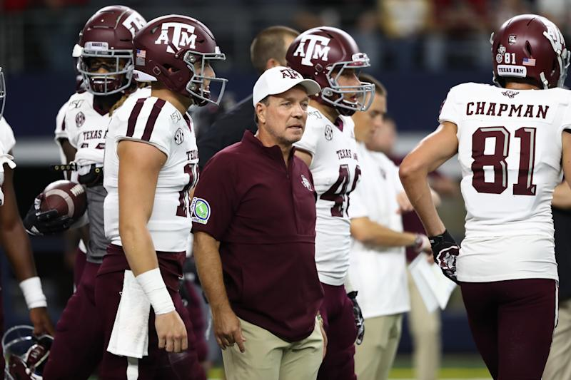 Texas A&M is 7-5 in 2019 under head coach Jimbo Fisher. (Photo by Ronald Martinez/Getty Images)