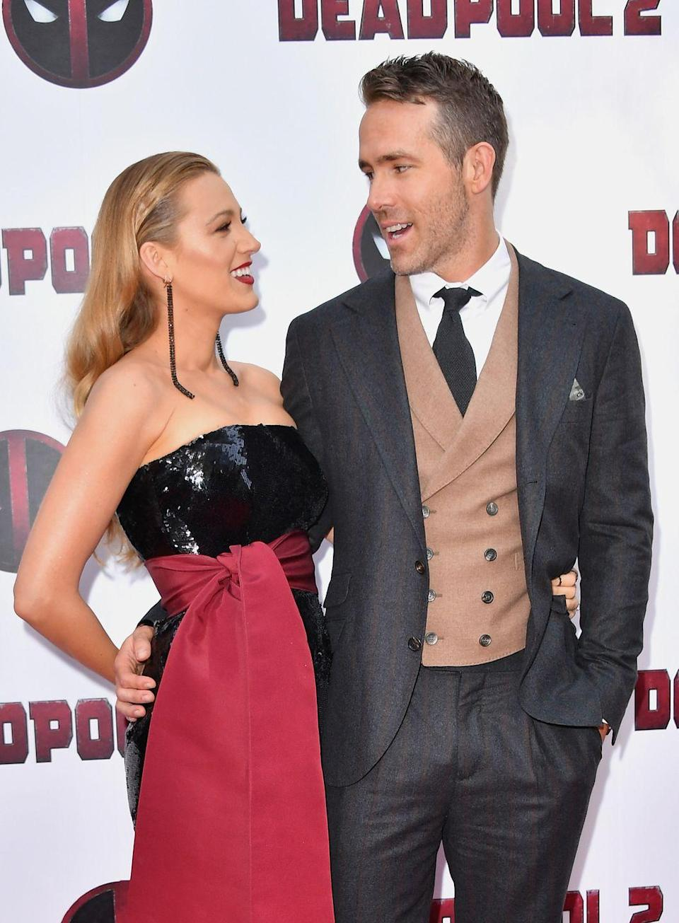 <p>The look of love at a screening of Reynolds' film Deadpool 2. </p>