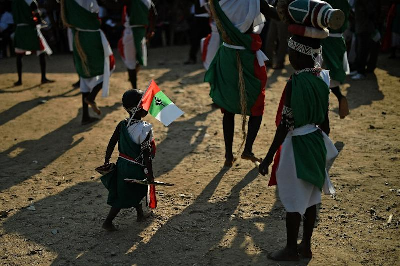 A boy walks bearing a flag of Burundi's ruling CNDD-FDD (National Council for the Defense of Democracy–Forces for the Defense of Democracy)  party during a party rally in Bujumbura on July 16, 2015