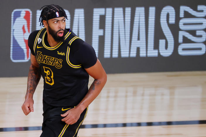 Anthony Davis #3 of the Los Angeles Lakers reacts during the second half against the Miami Heat in Game Two of the 2020 NBA Finals