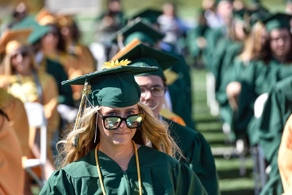 COSTA MESA, CA - JUNE 14: Graduate Jaden McKeague watches the commencement ceremony for Edison High School at Orange Coast College in Costa Mesa, CA, on Thursday, June 14, 2018. (Photo by Jeff Gritchen/Digital First Media/Orange County Register via Getty Images)