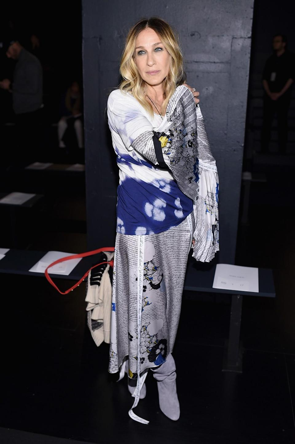 <p>Sarah Jessica Parker wore an oriental-inspired look. <i>[Photo: Getty]</i> </p>