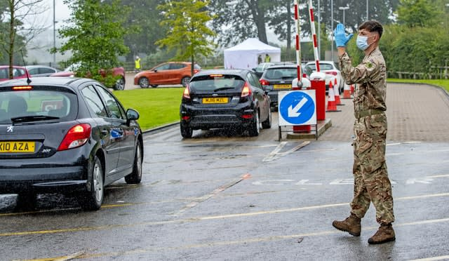 A mobile testing centre at Witton Park High School in Blackburn (Peter Byrne/PA)