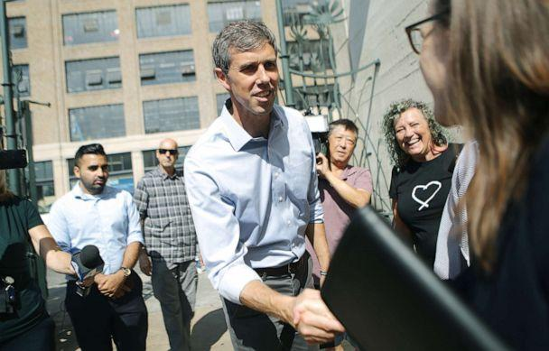 PHOTO: Democratic presidential candidate, former Rep. Beto ORourke (D-TX)enters the Downtown Women's Center, which serves women who are either experiencing homelessness or are formerly homeless, Sept. 17, 2019, in Los Angeles. (Mario Tama/Getty Images)